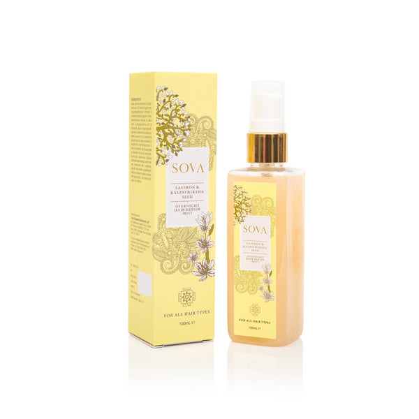 This is an image of Saffron &  Kalpavriksha Seed Overnight Hair Repair Mist from Sova on SublimeLife.in. Good for mending split ends and  repairs damaged hair.