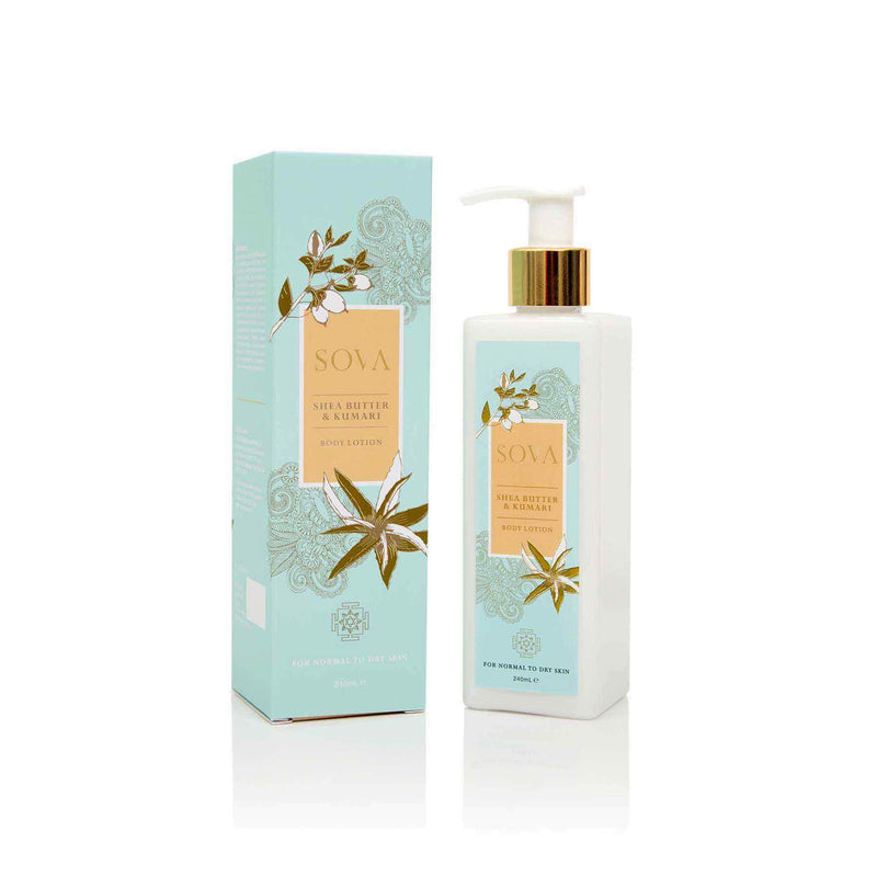 This is an image of Shea Butter & Kumari Body Lotion from Sova on SublimeLife.in. Gives you a smooth and silky skin.