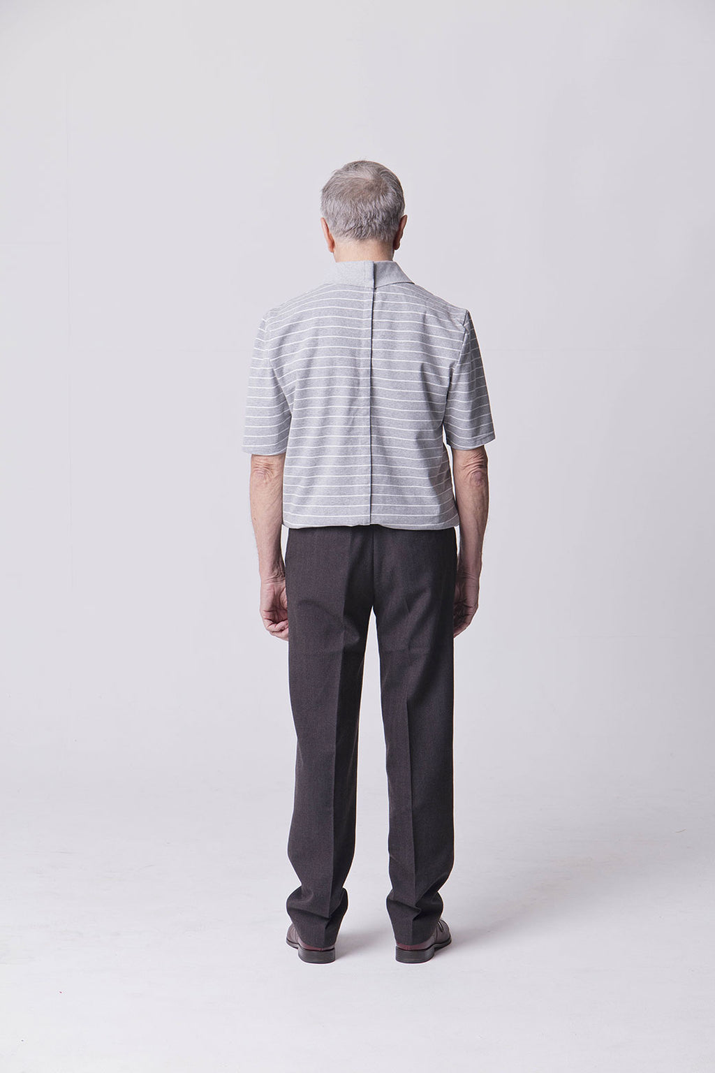 Assisted Dressing Grey & White Polo Shirt