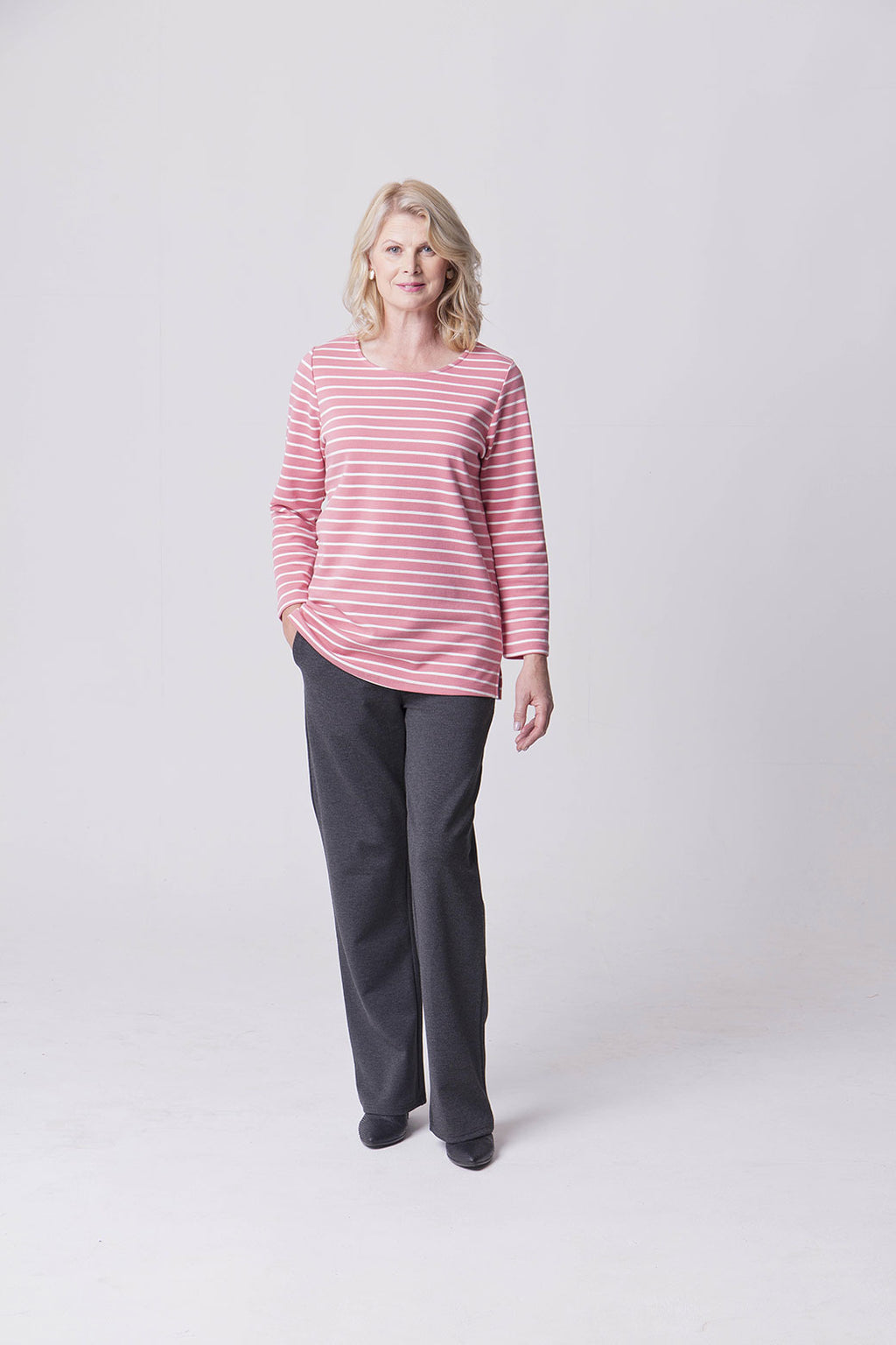 Assisted Dressing Breton Stripe Tunic in Pink & Cream