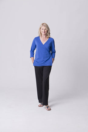 Blue Jersey Wrap Top