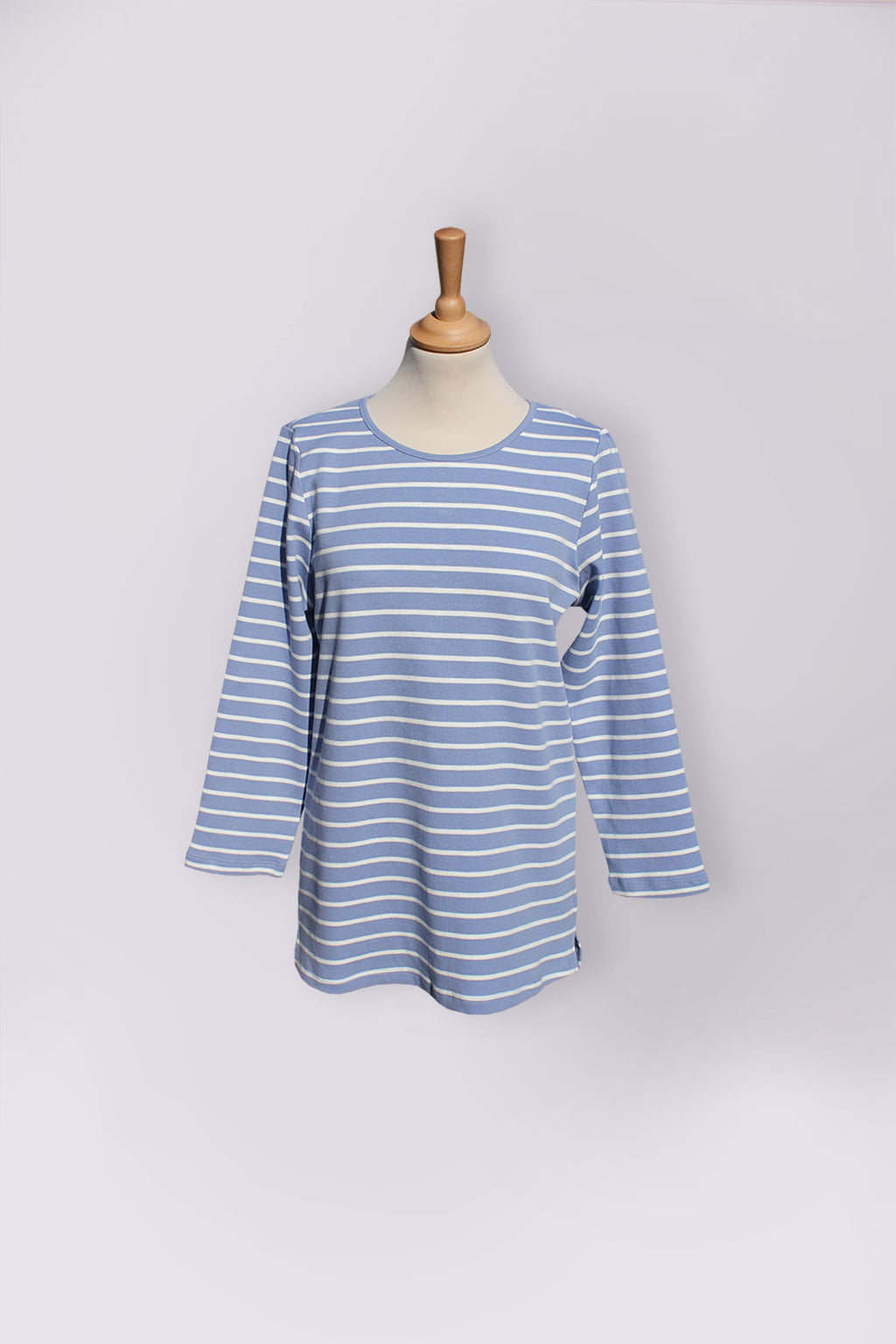 Assisted Dressing Breton Stripe Tunic in Sky Blue & White