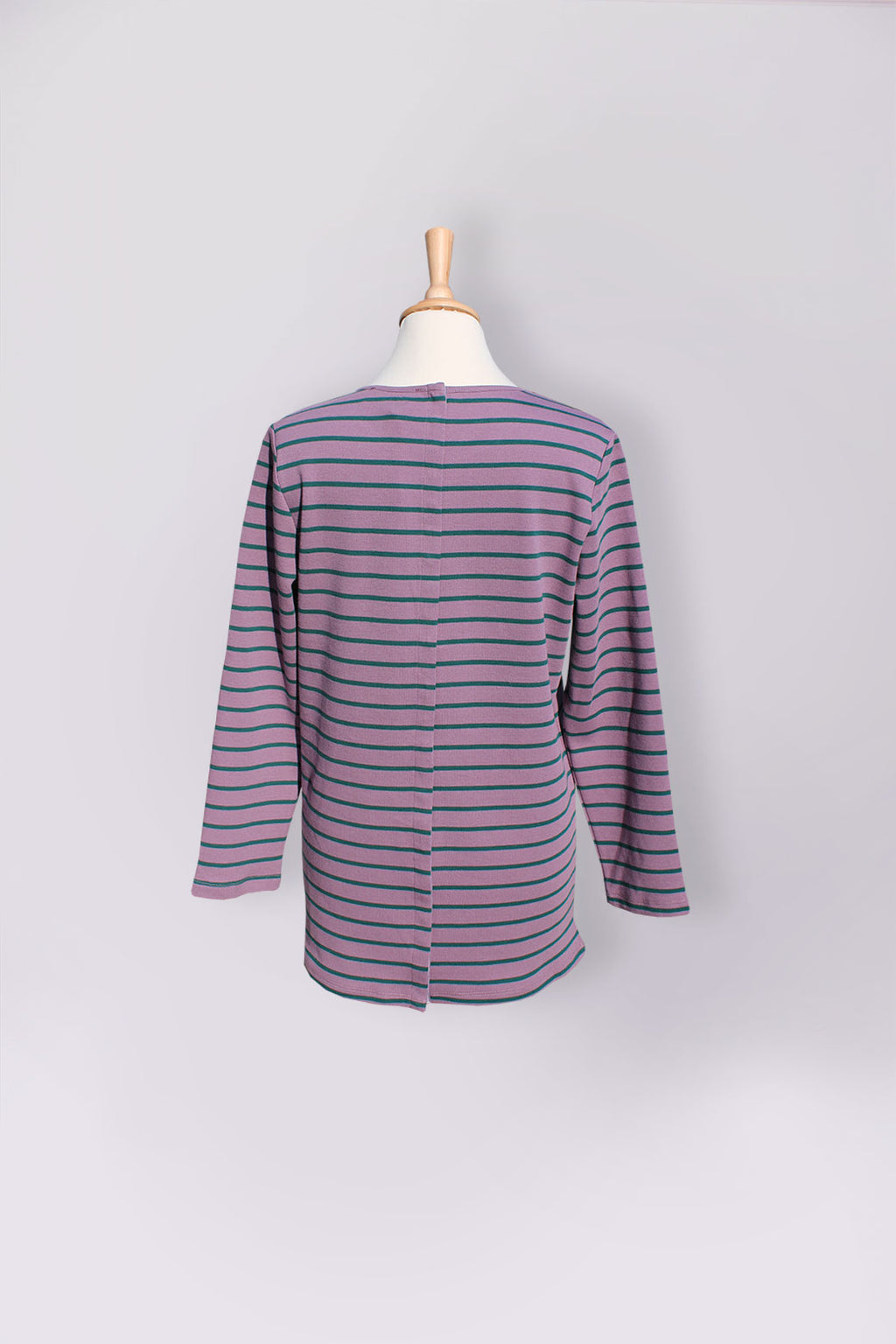 Assisted Dressing Breton Stripe Tunic in Violet & Green