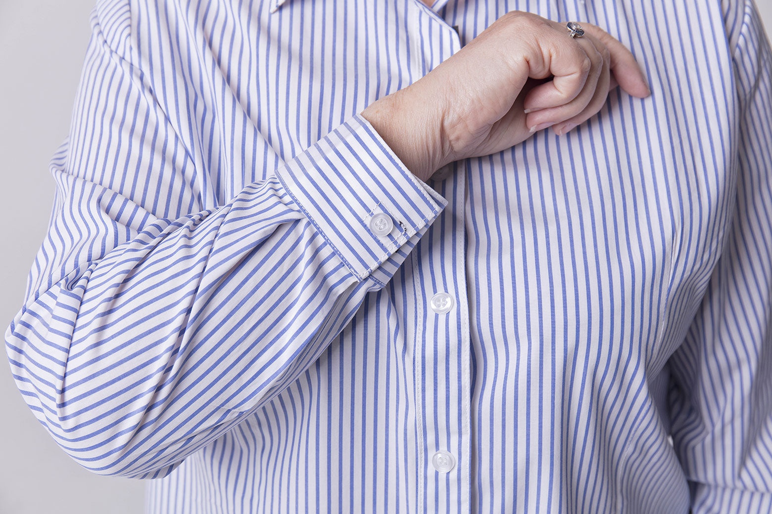 Blue & White Stripe Easy Close Shirt