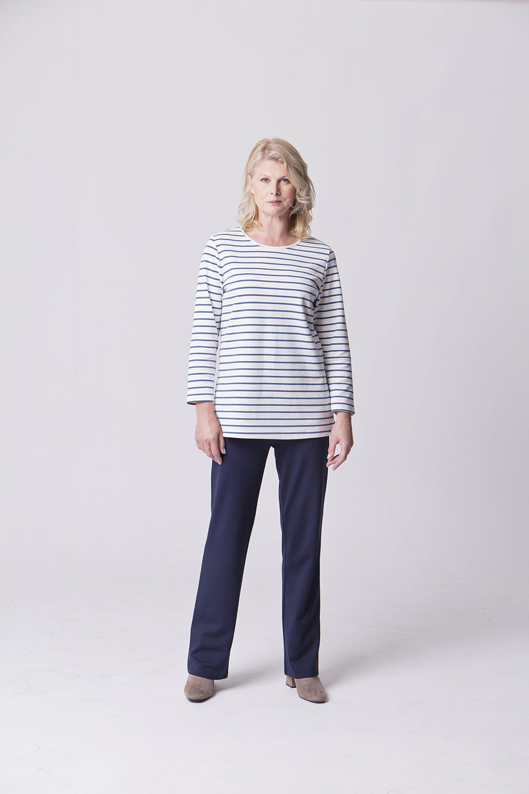 Assisted Dressing Breton Stripe Tunic in White & Navy