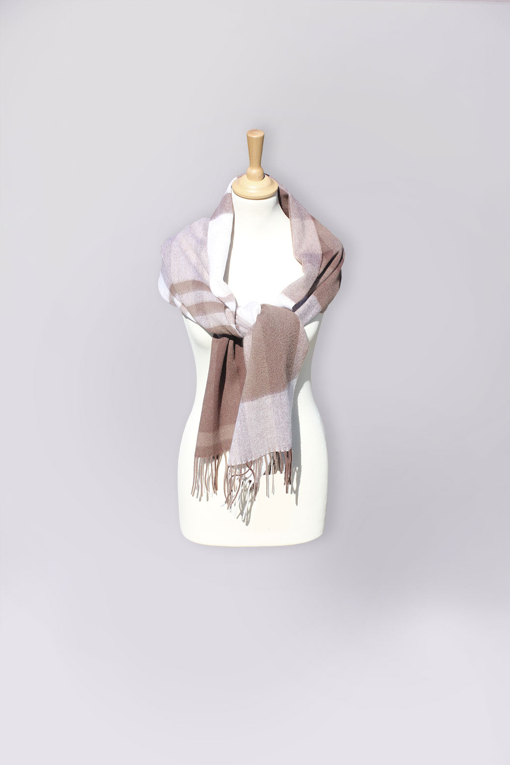 Woven Mocha & Pink Check Scarf