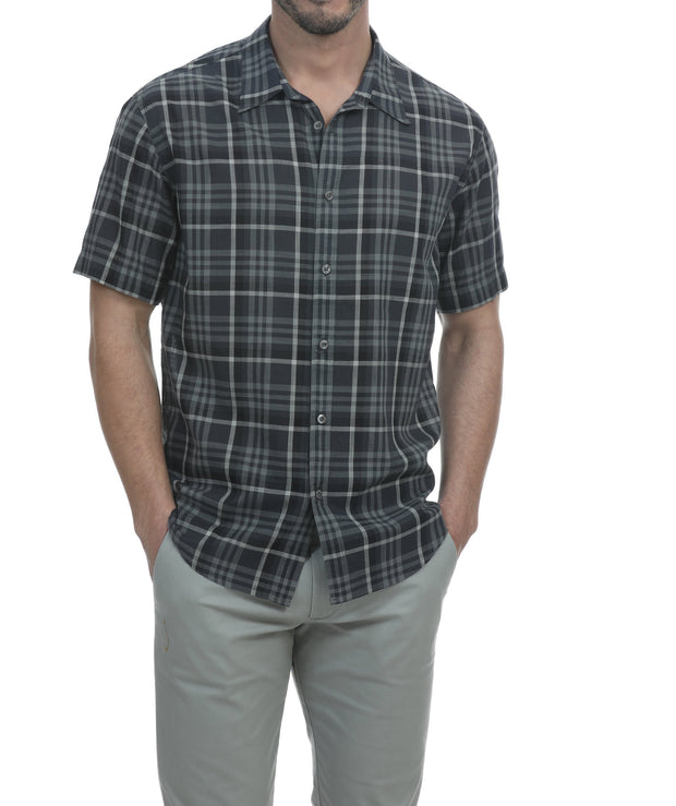Coetez Short Sleeve Check Plaid Shirt - Black