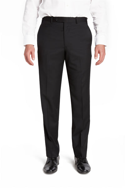 Black Flat Front Torino Wool Trousers – Made In Italy