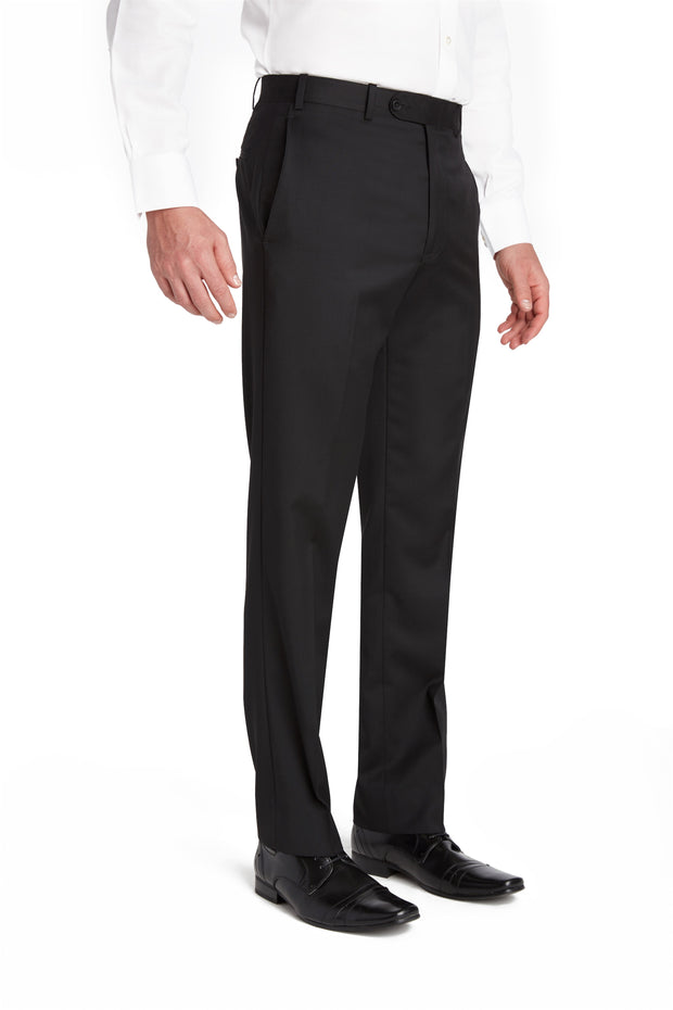 Black Flat Front Wool Gabardine Trousers – Made In Italy