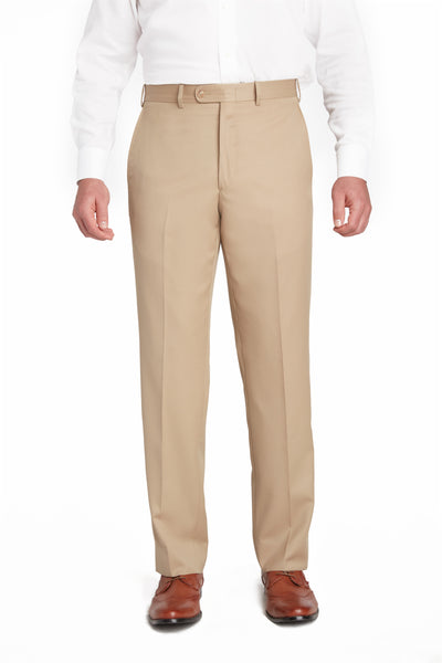 Khaki Flat Front Wool Gabardine Trousers – Made In Italy