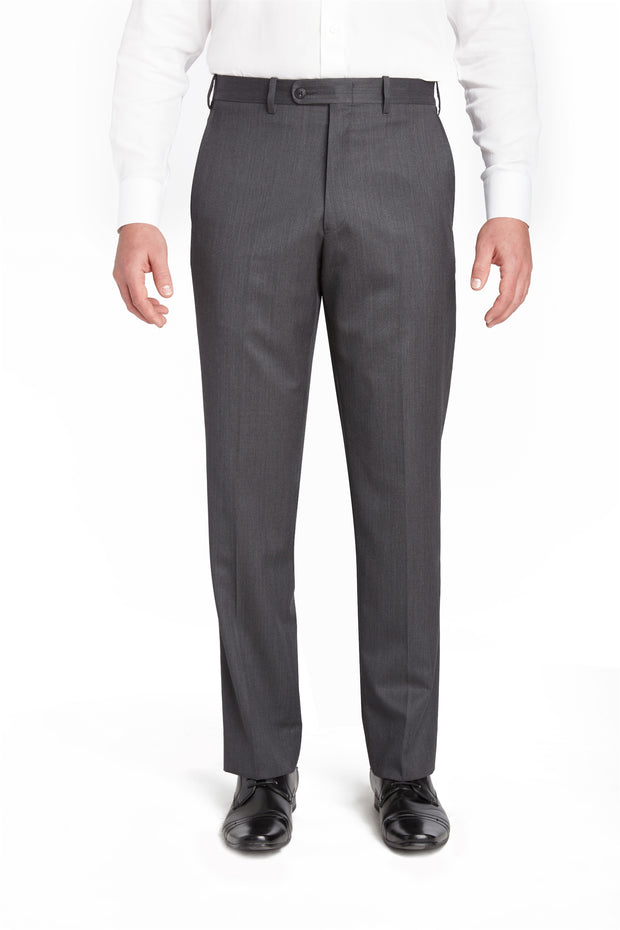 Mid Grey Flat Front Torino Wool Trousers – Made In Italy