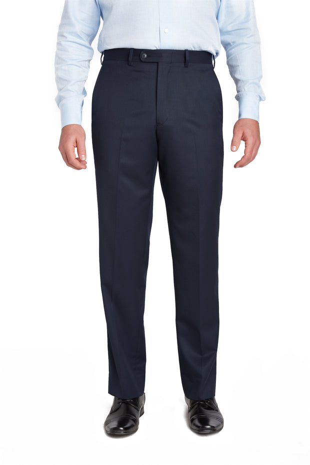 Navy Flat Front Wool Gabardine Trousers – Made In Italy