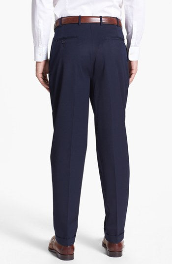 Navy Pleated Front Winston Wool Trousers – Made In Italy
