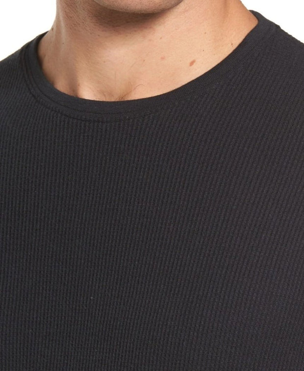 Vista Waffle Knit Long Sleeve Shirt - Black