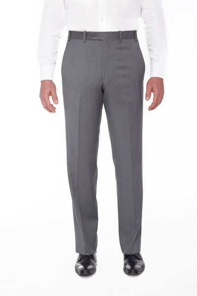 Grey Flat Front Wool Gabardine Trousers – Made In Italy