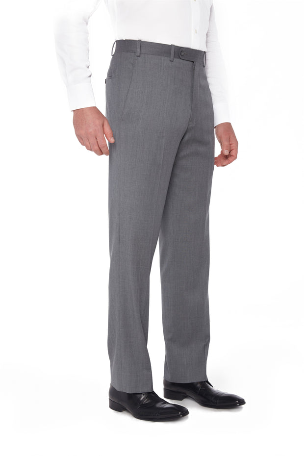 Grey Flat Front Torino Wool Trousers – Made In Italy