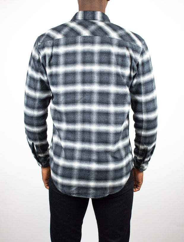 Holmes Long Sleeve Plaid Button Up Flannel Shirt