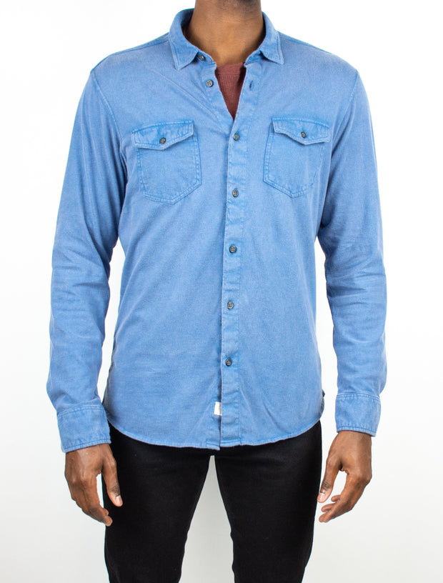 Ryan Long Sleeve Wash Knit Button Up Shirt - WATER
