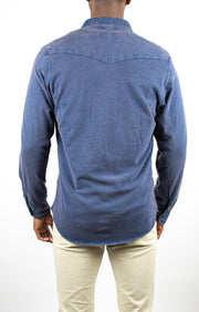 Ryan Long Sleeve Wash Knit Button Up Shirt - NAVY