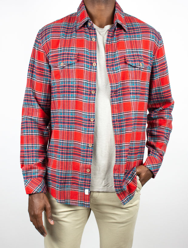 McGee Long Sleeve Check Button Up Flannel Shirt
