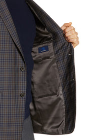Grey Plaid & Check Sport Coat