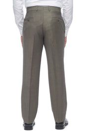 Dark Taupe Flat Front Torino Wool Trousers – Made In Italy
