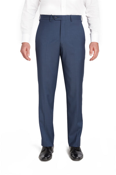 French Blue Flat Front Torino Wool Trousers – Made In Italy
