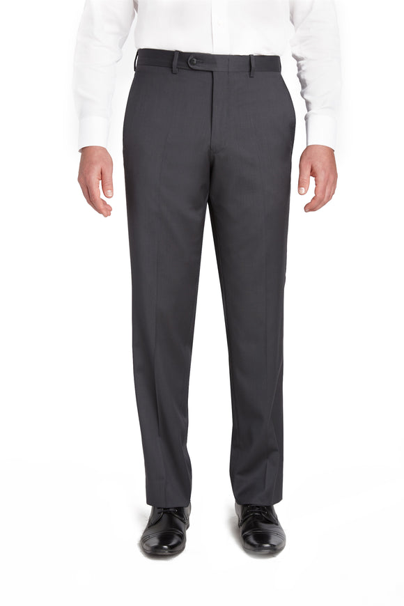 Gunmetal Flat Front Wool Gabardine Trousers – Made In Italy