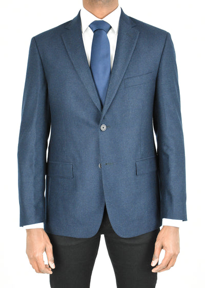 Navy Solid Wool Flannel Sport Coat