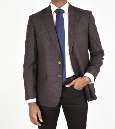 Plum Solid Wool Flannel Sport Coat
