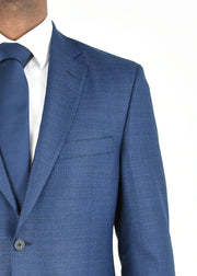 Blue Solid Textured Wool Sport Coat