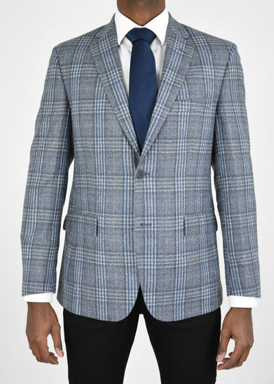 Grey/Blue Plaid Wool Sport Coat
