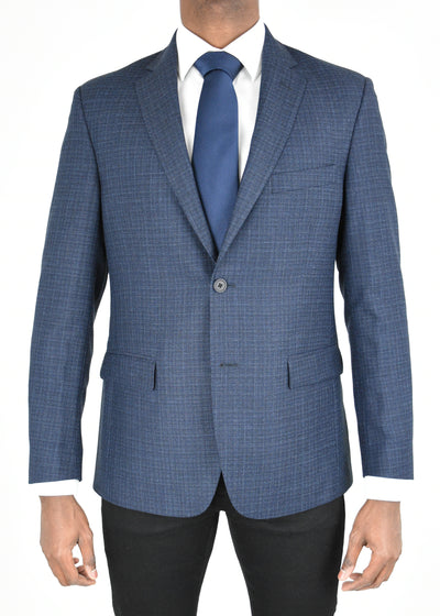 Navy Solid Textured Wool Sport Coat