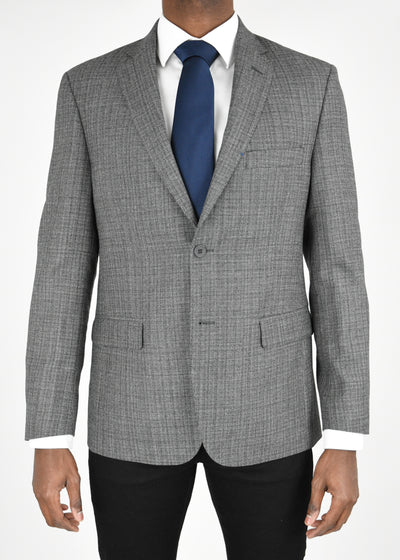 Grey Solid Textured Wool Sport Coat