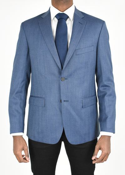 Blue Herringbone Wool Sport Coat