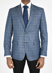 Blue/Tan Plaid Wool/Silk/Linen Sport Coat