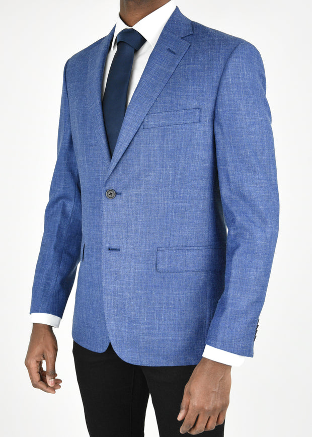 Blue Solid Wool/Silk/Linen Sport Coat