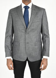 Grey Solid Wool/Silk/Linen Sport Coat