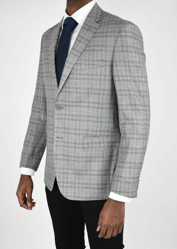 Grey Shadow Plaid Wool/Silk/Linen Sport Coat