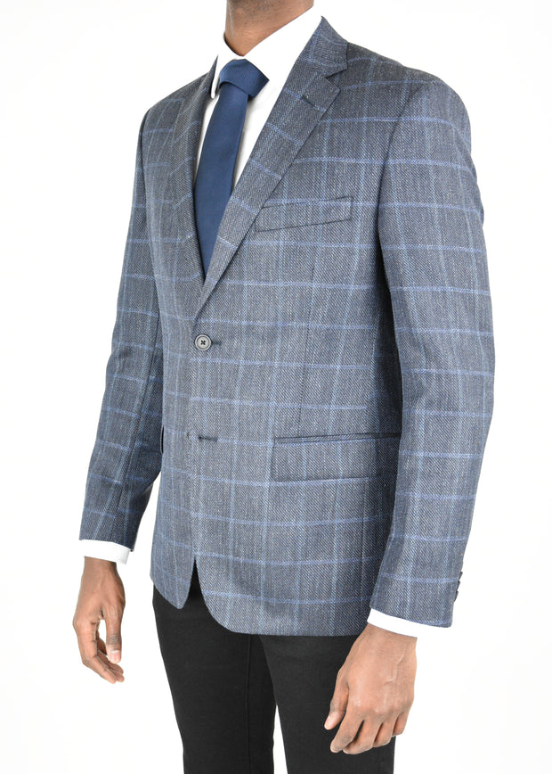 Navy Window Pane Wool/Silk/Linen Sport Coat