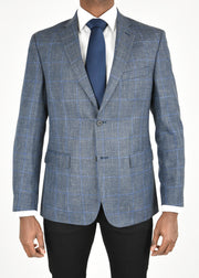 Navy Plaid Wool/Silk/Linen Sport Coat