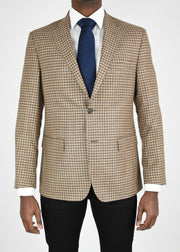 Tan Check Wool/Silk/Linen Sport Coat