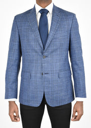 Blue/Black Plaid Wool/Silk/Linen Sport Coat