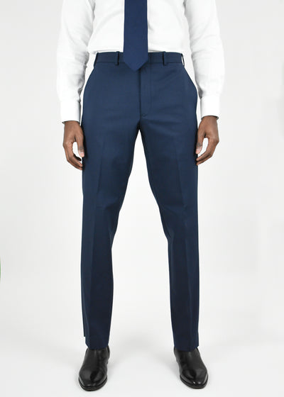 Navy Flat Front Torino Cotton Blend Trousers