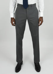 Grey Flat Front Torino Cotton Blend Trousers