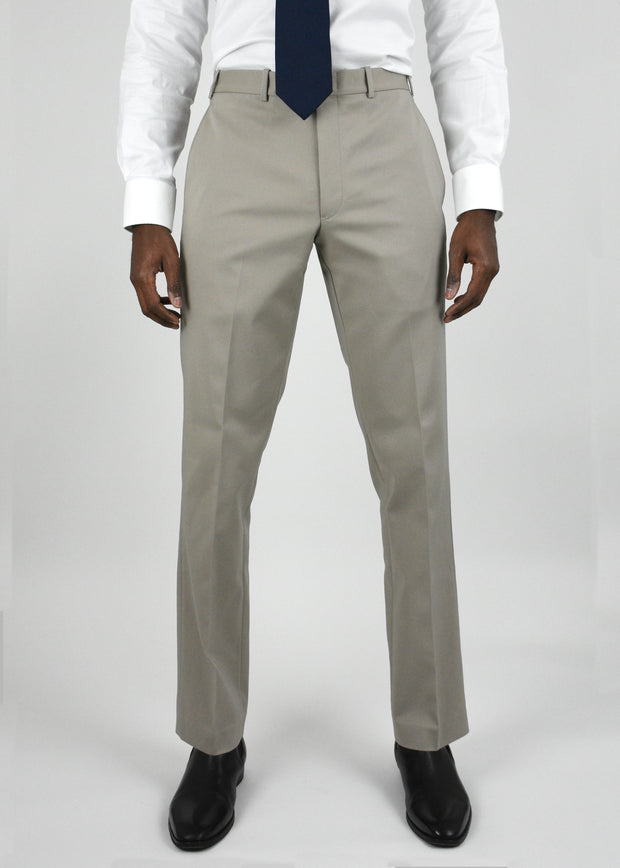 Tan Flat Front Torino Cotton Blend Trousers
