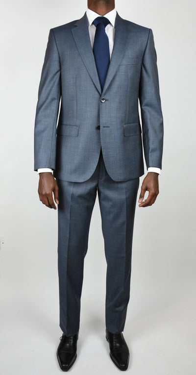 Mid Blue Wool Chambray Suit