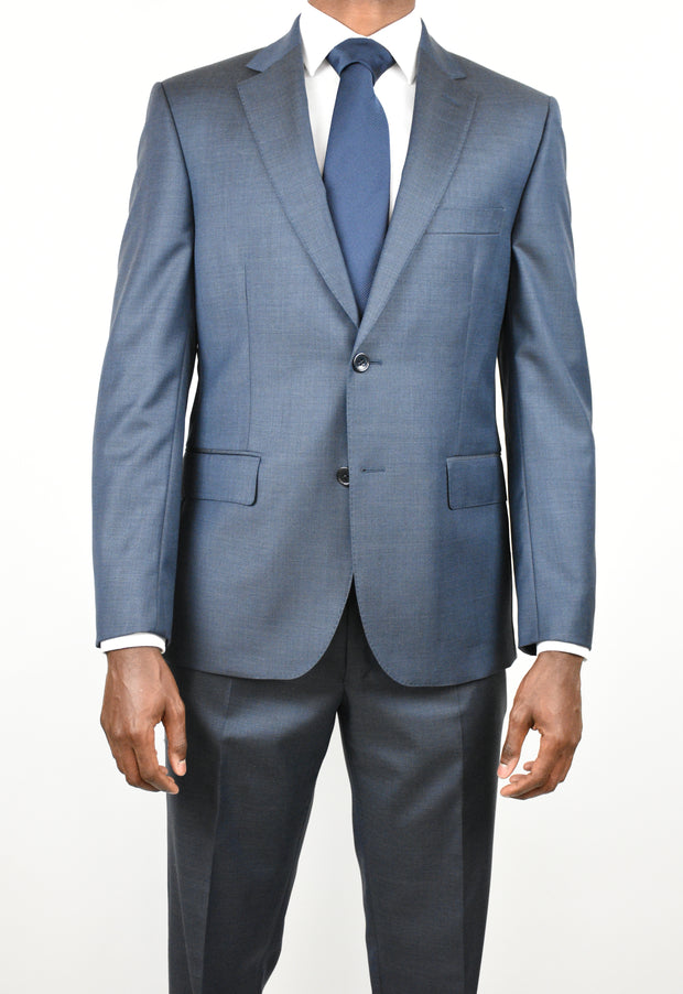 Navy Wool Chambray Suit