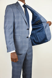 Blue Ink Wool Plaid Suit