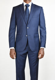 Mid Blue Wool Window Pane Suit
